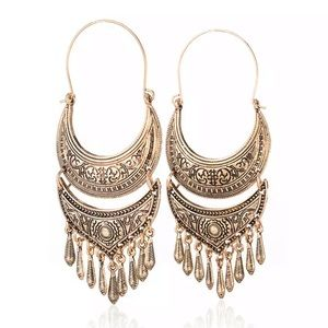 BOGO! Bronze Metal Tassel Medallion Earrings Boho